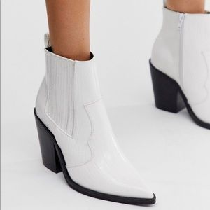 ASOS Elliot western ankle boots in white croc